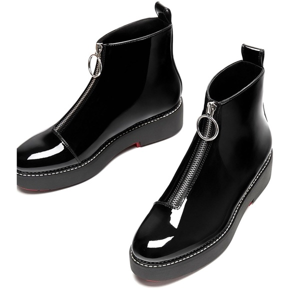 bf139989 NWT Zara Black Patent Leather Zip Up Ankle Boot NWT